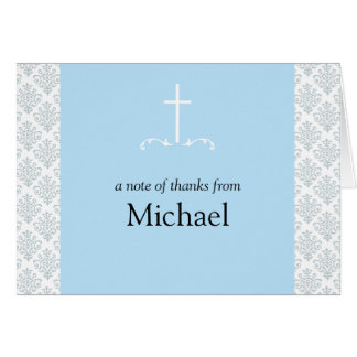 Damask Blue Cross Note Card