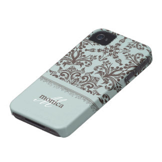 Damask Blue iPhone 4/4S Case-Mate Barely There