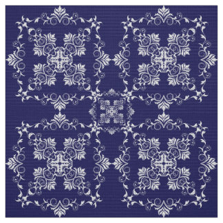 Damask Blue pattern. Fabric