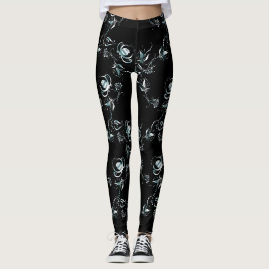 Damask blue pattern on Black Leggings