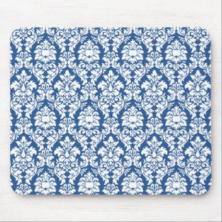 Damask Blue & White Mouse Pad