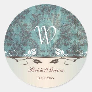 Damask bluish green brown Wedding monogram Sticker