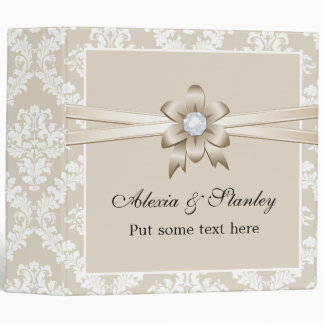 Damask border with beige ribbon wedding planner vinyl binder