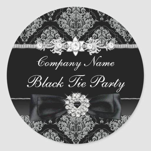 Damask & Bow Corporate Black Tie Party Sticker