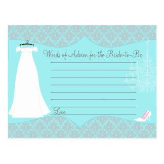 Damask Bridal Shower Advice card for the Bride