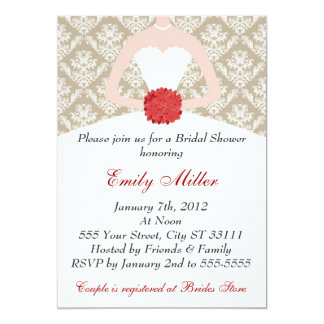 "Damask Bridal Shower Gold Red 5"" X 7"" Invitation Card"