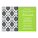 Damask Bridal Shower Invitation Black & Green