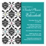 Damask Bridal Shower Invitation Black & Turquoise
