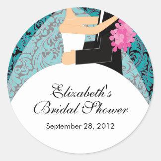 Damask Bride Groom Bridal Shower Sticker Turquoise