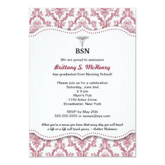 "Damask Burgundy Nurse pinning graduation BSN RN 5"" X 7"" Invitation Card"