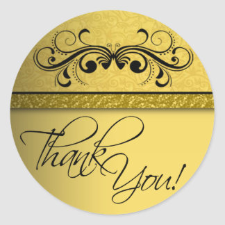Damask Butterfly Thank You Sticker