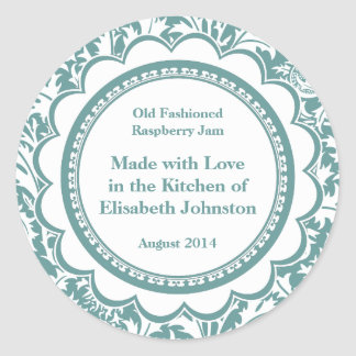 Damask Canning Labels for Homemade Jams, Jellies Round Sticker