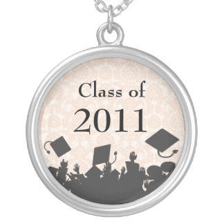 Damask Cap Tossing Crowd-Graduation Class of 2011 Silver Plated Necklace