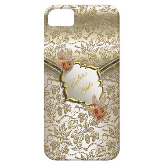 Damask Caramel Cream Beige Gold Amber B iPhone 5 Case