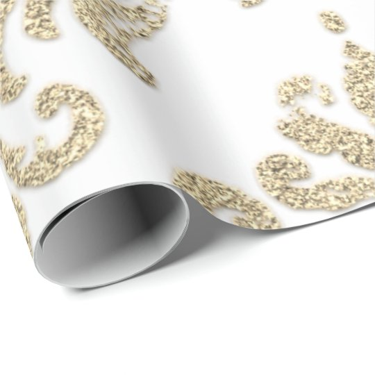 Damask Champagne Gold Royal Glitter Like Wrapping Paper