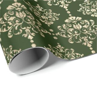 Damask Champagne Gold Royal Metallic Cali Woodland Wrapping Paper