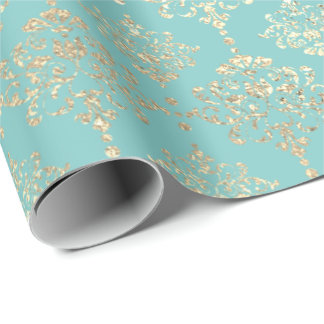 Damask Champagne Gold Royal Metallic Tiffany Aqua Wrapping Paper