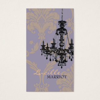 Damask Chandelier 2 Business Card (Purple)
