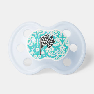 Damask Checkered Flag. Pacifiers