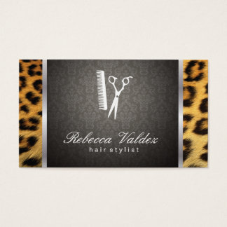 Damask / Cheetah Print / Silver Trim Business Card
