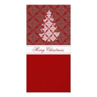 Damask Christmas Tree Custom Photo Card