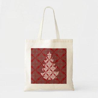 Damask Christmas Tree Tote Bag