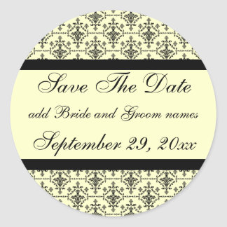 Damask Cream Save The Date Reminders Classic Round Sticker