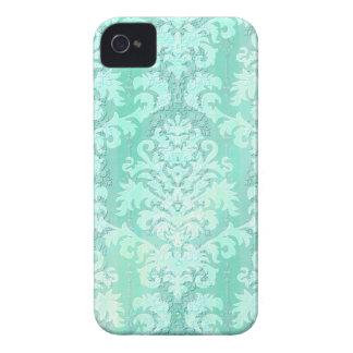Damask Cut Velvet, Antique Lace in Mint Green iPhone 4 Case-Mate Cases