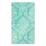 Damask Cut Velvet, ANTIQUE LACE in MINT GREEN Poster