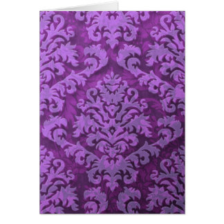 Damask Cut Velvet, Embossed Leaves in Purple Card