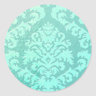 Damask Cut Velvet, Embossed Satin Classic Round Sticker
