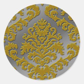 Damask Cut Velvet, Silver Metallic in Gold & Gray Classic Round Sticker