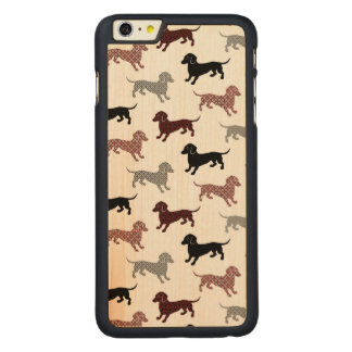 Damask Dackel Cute Dachshunds Carved® Maple iPhone 6 Plus Case