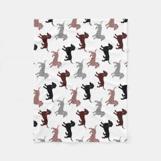 Damask Dackel Cute Dachshunds Fleece Blanket