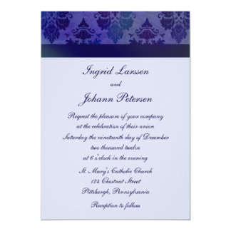 Damask Deep Blue Wedding Invitations