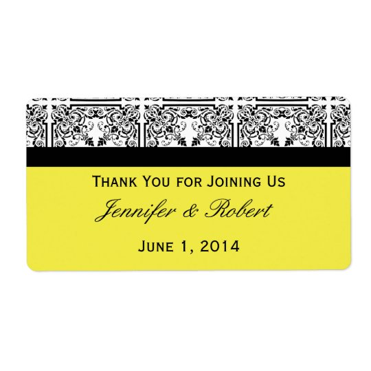 Damask Delight in Lemon Yellow Water Bottle Label Shipping Label
