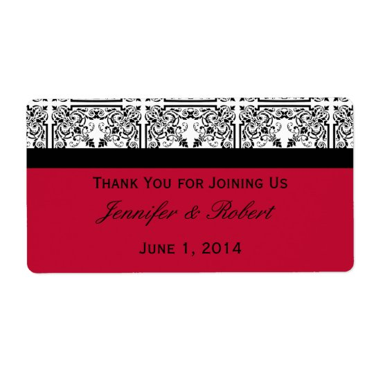 Damask Delight in Scarlet Red Water Bottle Label Shipping Label