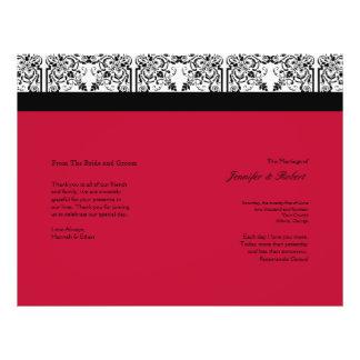 Damask Delight in Scarlet Red Wedding Program