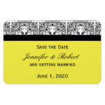 Damask Delight in Yellow Wedding Save the Date Rectangle Magnet