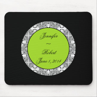 Damask Delight Lime Green Mouse Pad