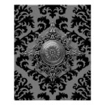 Damask Design, Filigree Medallion Poster