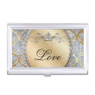 Damask Diamond Cool Jewelry Bling Glitter Business Card Holder