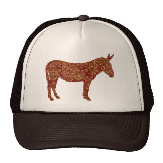 Damask Donkey Silhouette Lid Hat