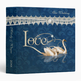 Damask Elegance Blue Vinyl Binder