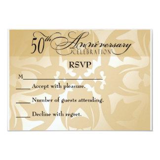 Damask Elegant 50th Anniversary RSVP Card