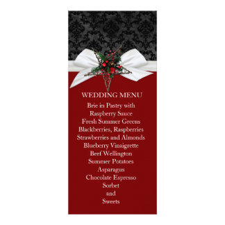 Damask Elegant Ribbon Star Wedding Menu Invite