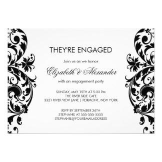 Damask Engagement Party Invitations Black White