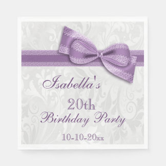 Damask & Faux Bow Girls 20th Birthday Paper Napkin