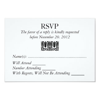 Damask Filigree RSVP Wedding Custom Response Card