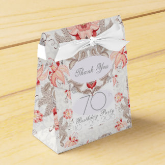 Damask Floral 70th Birthday Thank You Favor Box